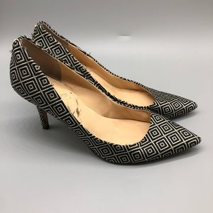 Ivanka Trump black white diamond pattern heels